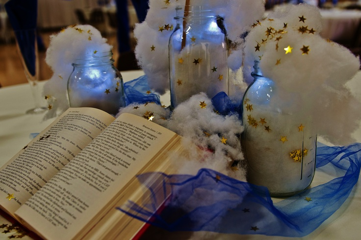 Cloud and book themed centerpieces tahlia wedding for Cloud centerpieces
