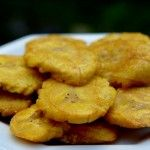 Patacones or tostones, thick fried green plantains. I had these at a ...
