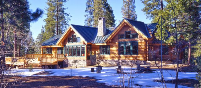 Ranch Style Log Home In Snow Love Log Cabins Pinterest