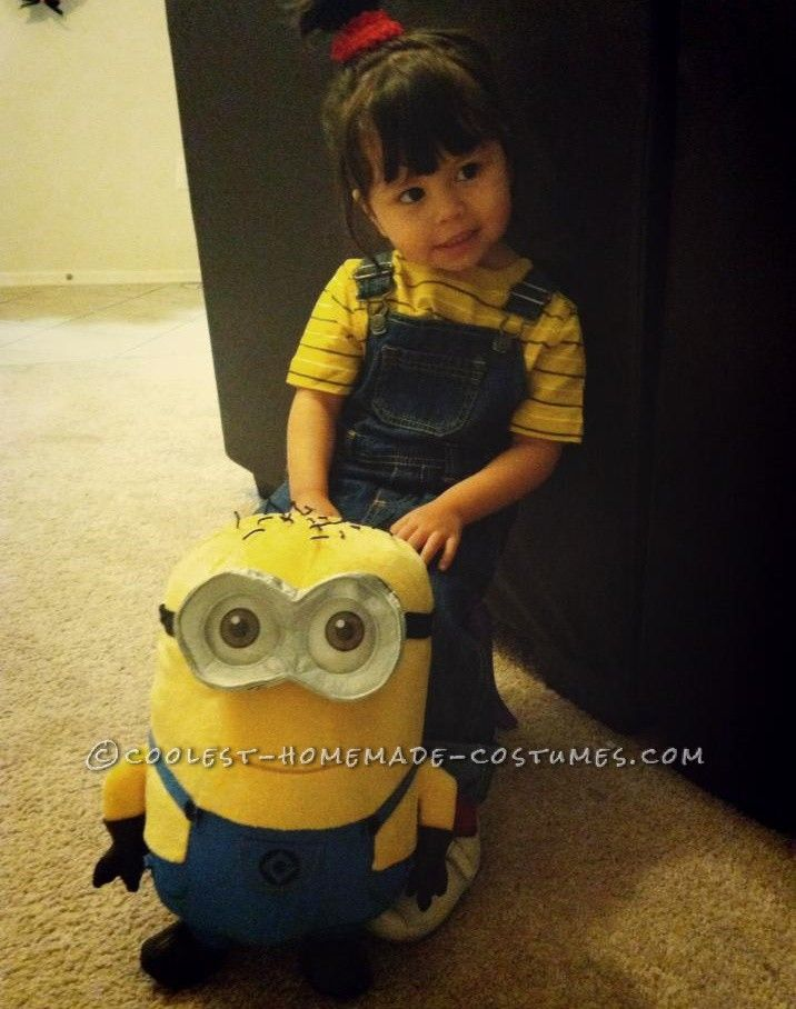 Easy diy costume for a toddler girl agnes from despicable for Homemade halloween costumes for toddlers