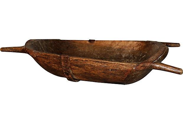 Batea en talla directa de madera para amasar pan siglo 19