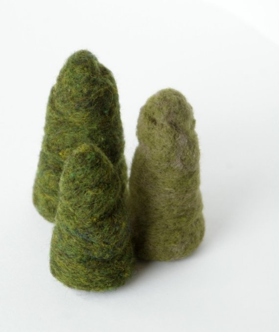 needle felted trees by BeneathTheRowanTree on etsy - $21