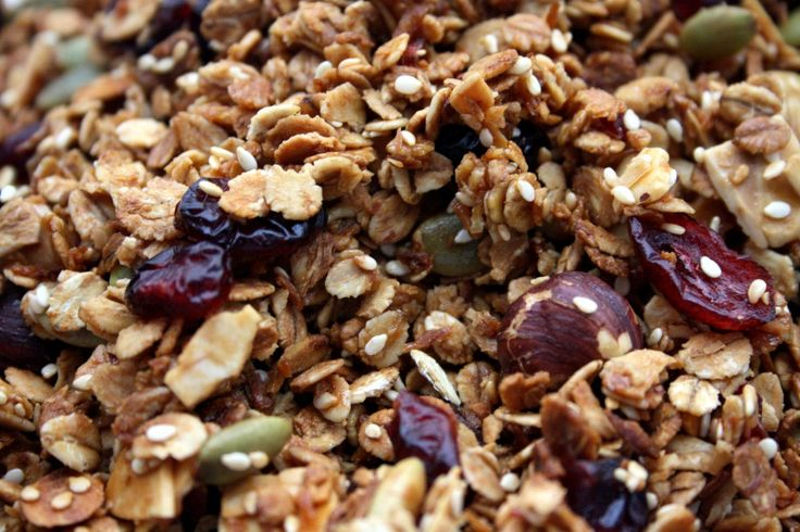 Maple, honey, cranberry, sesame, pumpkin seed granola with coconut oil ...