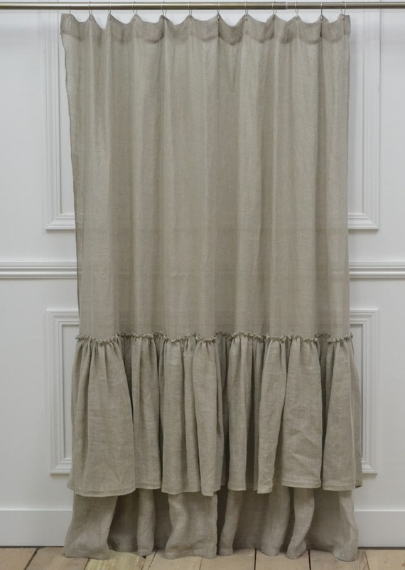 linen ruffle shower curtain home wish list pinterest