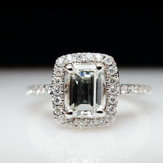Halo Ring Emerald Cut Emerald Halo Ring