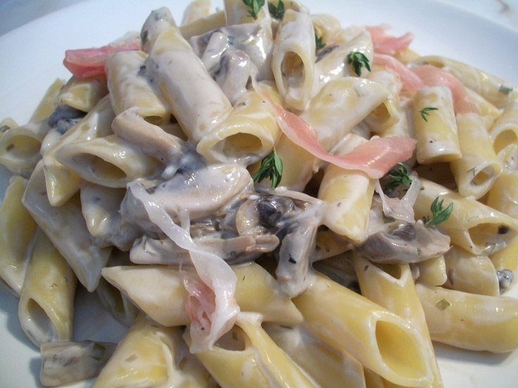Penne Pasta With Mushrooms,Mascarpone And Prosciutto A wonderful quick ...