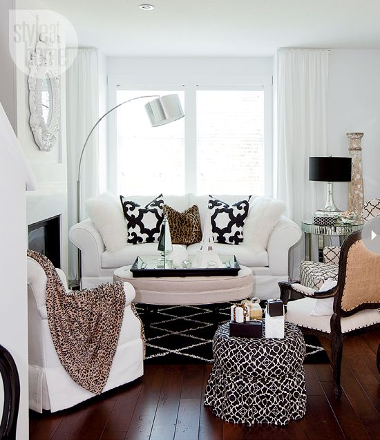 glam living room with black + white palette