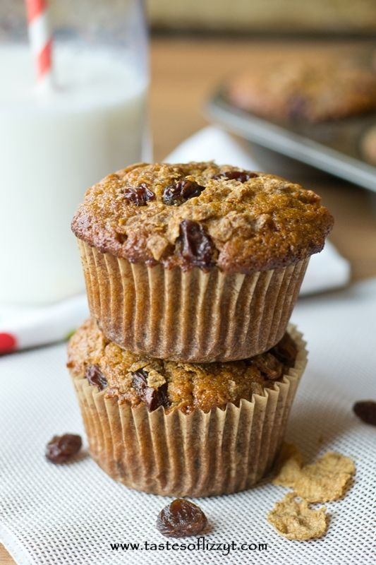 Raisin Bran Muffins are full of whole wheat flour, bran flakes and ...