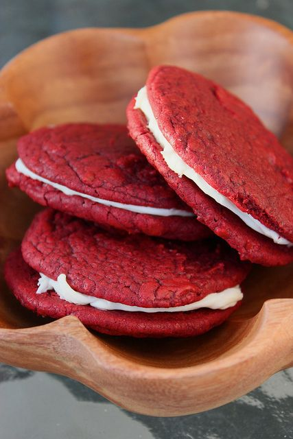 Red Velvet whoopie pies...using a cake mix. Can be a fun party treat ...