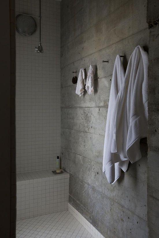 Concrete bath with white tile bathrooms pinterest for Concrete bathroom ideas