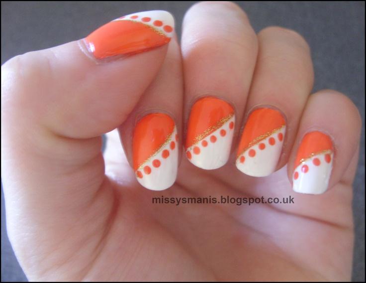 Orange nail art mani pedi art pinterest