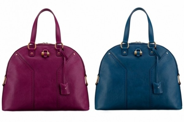 YSL handbags in blue and purple