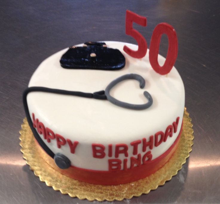 50th birthday cake customized for a doctor.