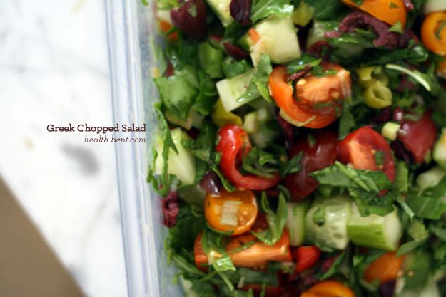 Greek Chopped Salad - add a little chicken or salmon and this is an ...