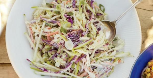Coleslaw with Apple and Yogurt Dressing   KitchenDaily.com