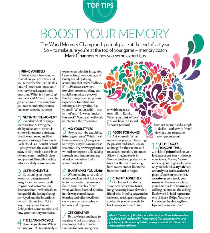 improving memory tip The science of memory: top 10 proven techniques to remember more improving your memory is everyday memorization techniques in addition to memory aids or.
