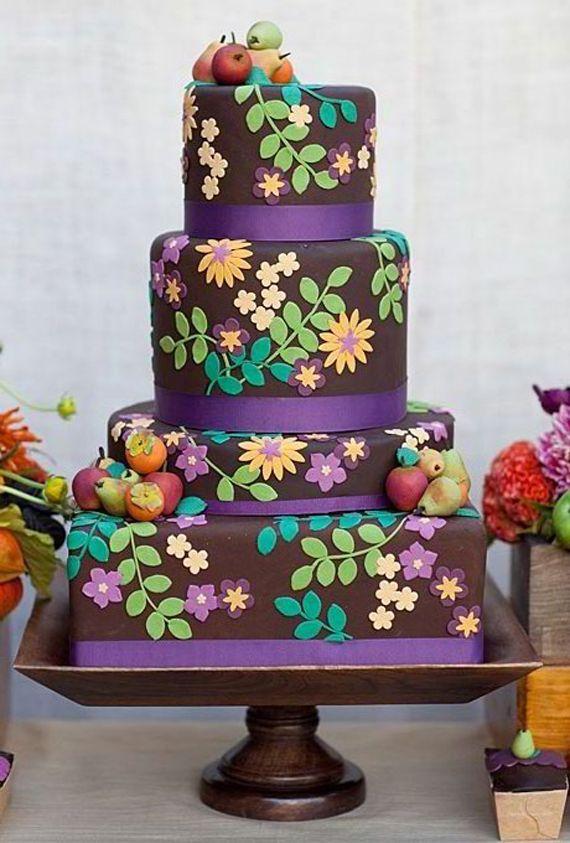 Nature Icing Fall Wedding Cake Designs