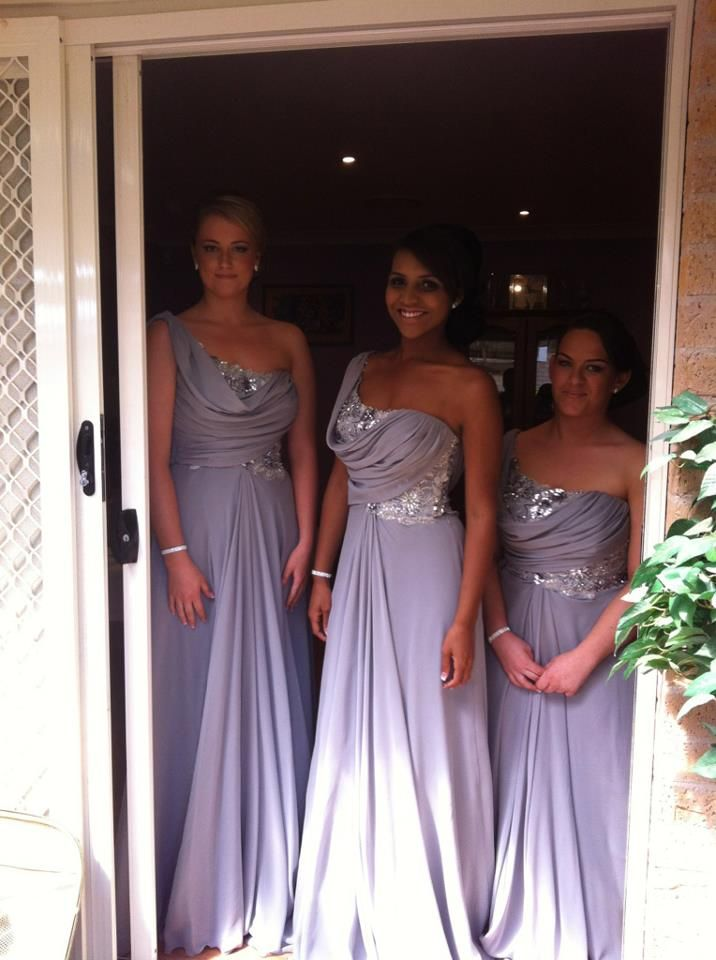 Bn bridal grey one sleeve bridesmaid dresses with sequins by norma