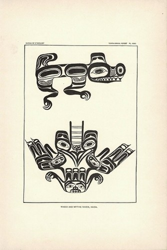 1893 Print Pacific Northwest Coast Indian Haida Tribal Art Wasco ...