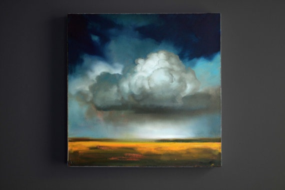 Original Oil Cumulus Cloud Painting Over Yellow by Luckyhemlock, $595.00