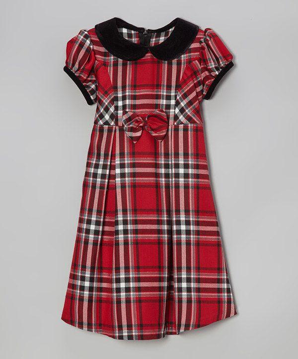 Red amp black plaid rosette a line dress girls