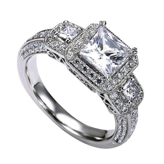 Stone Princess Cut Halo Diamond Engagement Ring VVS1 2.95 Ct Pave ...
