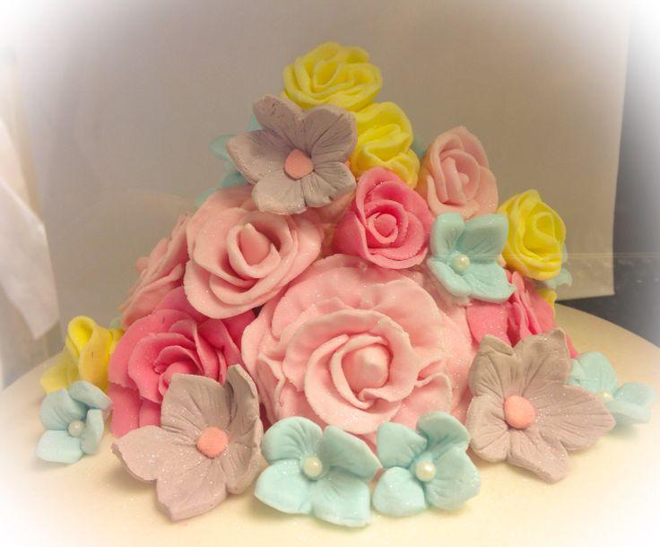Birthday Cake Fondant Flowers Image Inspiration of Cake and