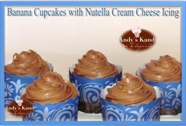 Banana Cupcakes with Nutella Cream Cheese icing