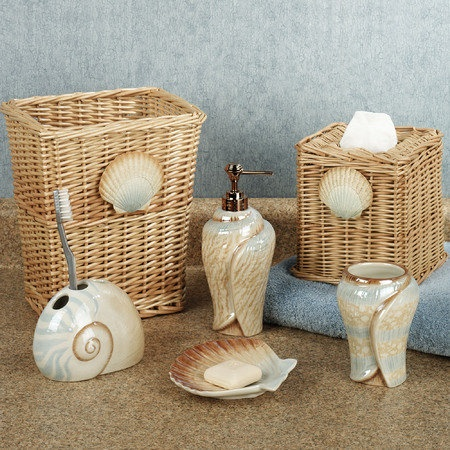 Seashell bathroom accessories miniature nautical beach for Seashell bath accessories