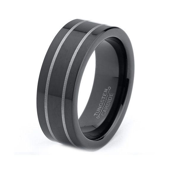 black tungsten wedding band black tungsten ring black men tungsten