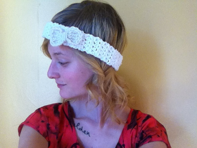 Crochet Hair White Girl : White Crochet Headband with White Bow, Ladies Crochet Hair Band, Girls ...