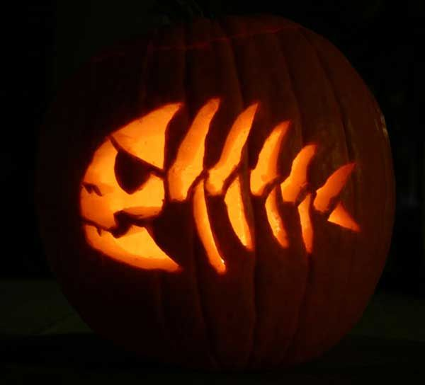 Fish skeleton pumpkin dave pinterest