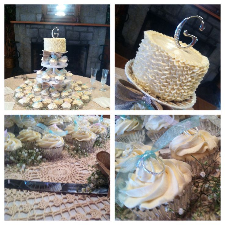 Ruffle Wedding Cake with Cupcake Tower | Mimi Cakes | Pinterest