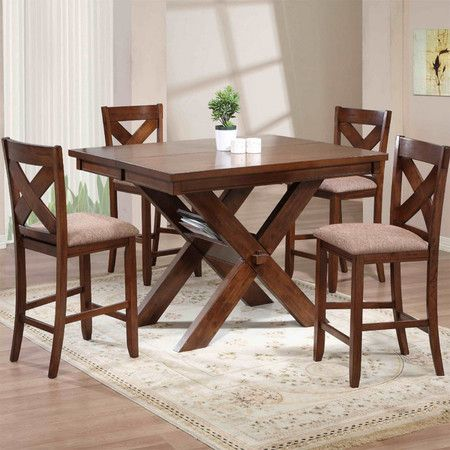 Sawhorse Style Dining Table With Four X Backed Side Chairs Side
