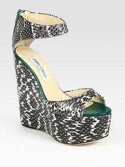 jimmy choo topaz elaphe snakeskin and patent leather wedge sandals