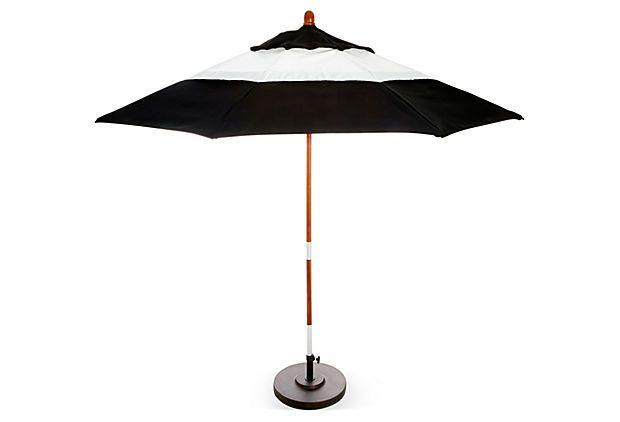 colorblock patio umbrella black white