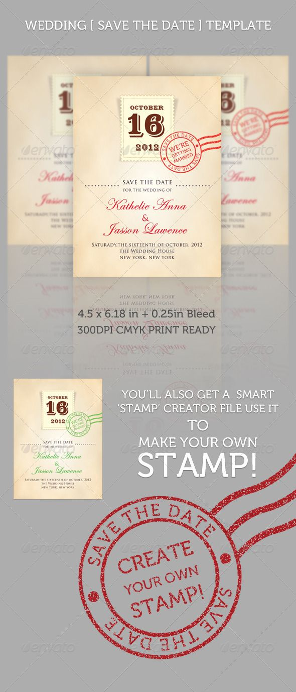 Wedding Save the Date Template | Invitations | Pinterest