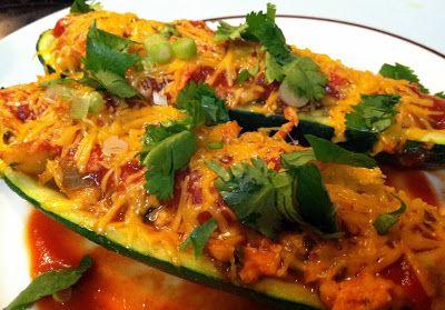 Chicken Enchilada Stuffed Zucchini Boats | Basket Food | Pinterest