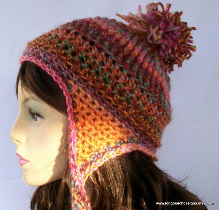 Crochet Earflap Hat : Crochet Ear Flap Hat Pattern, Ribbon Candy Earflap Beanie
