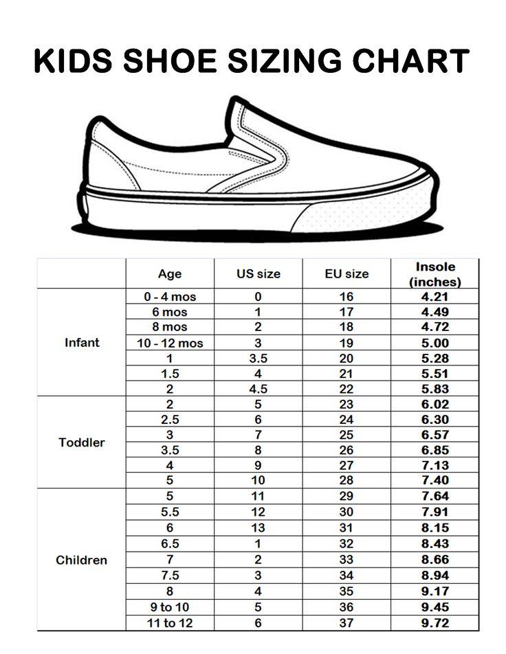 G L kids shoe size chart | Sizing Chart