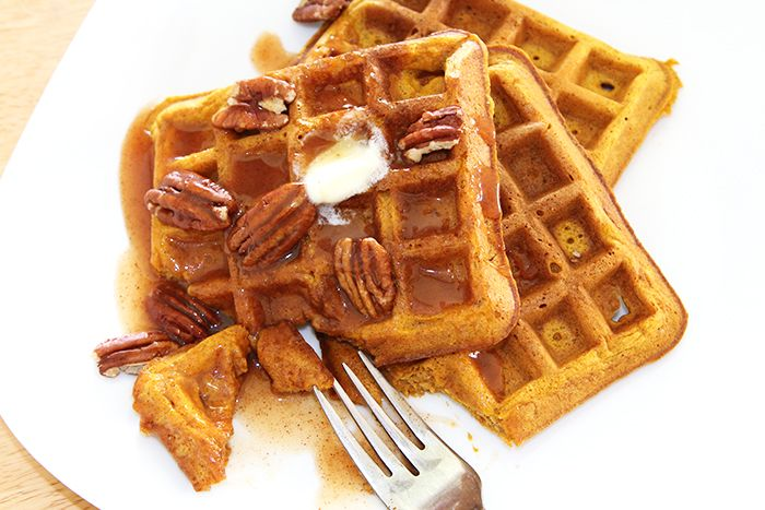 Pumpkin Waffles w/ Apple Cider Syrup | His & Hers and the Dogs