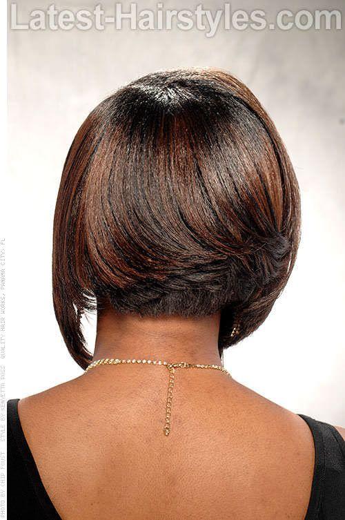 Short Angled Bob Hairstyle Back View