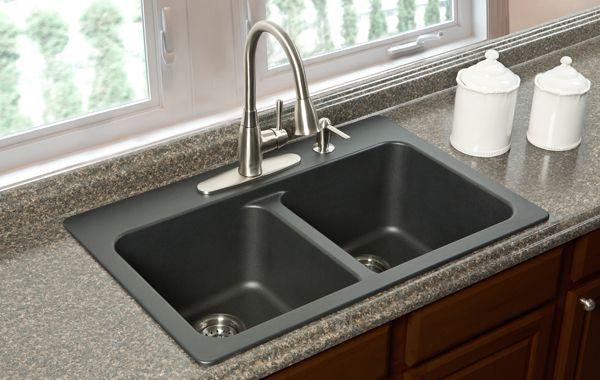 black granite posite sink Kitchen Revamp