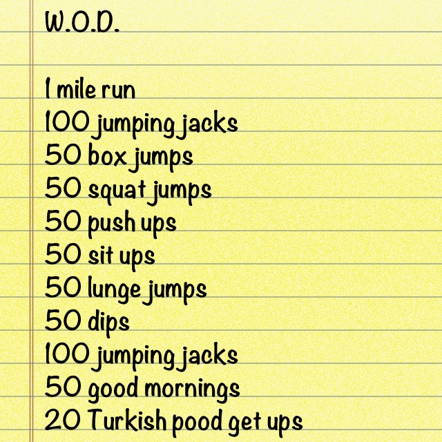 Crossfit workout of the day with my own additions & substitutions.