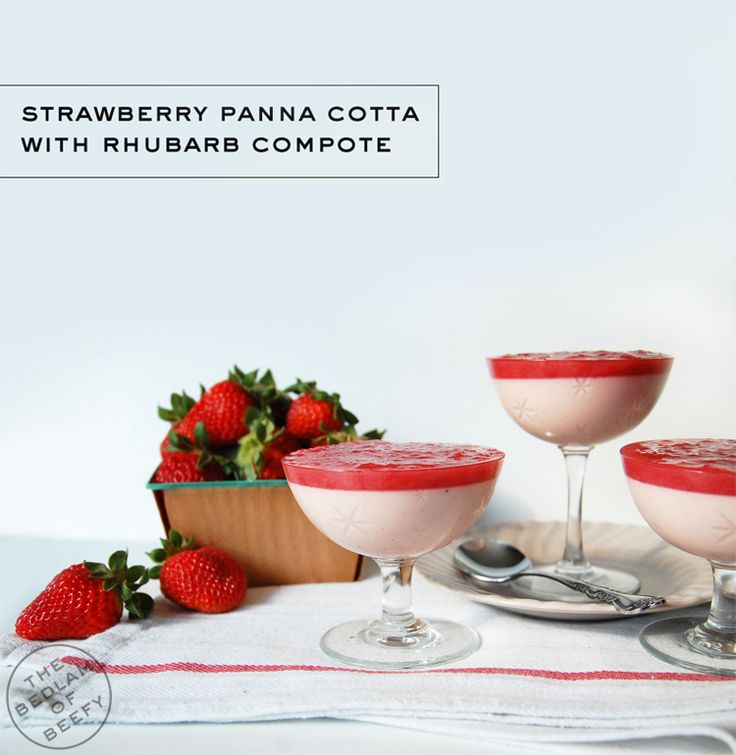 Strawberry Panna Cotta with Rhubarb Compote