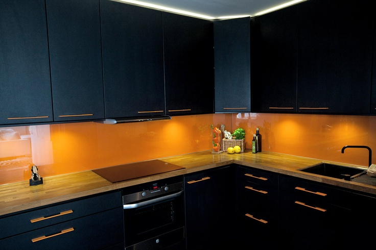 orange glass backsplash dream home pinterest