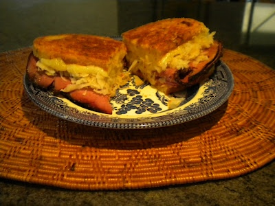 Groovin' Reuben sandwich for a hearty lunch after substantial exercise.
