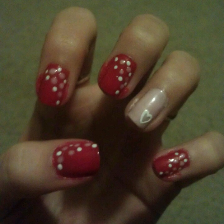 valentine's day nail art step by step