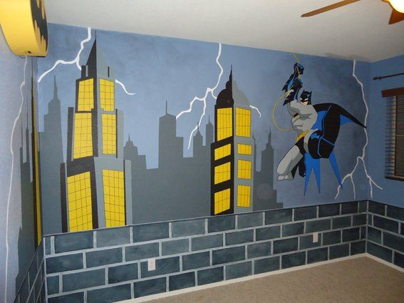 Batman wall mural google search boys room ideas for Batman wall mural