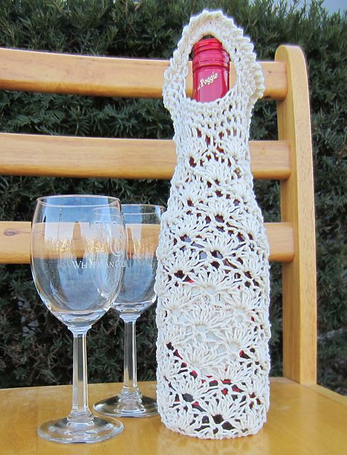 Crochet Lace Shell Wine Bag, Tote, Cozy PDF Pattern ...